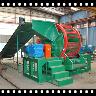 Dual shaft tire shredder for scrapped waste tire recycling